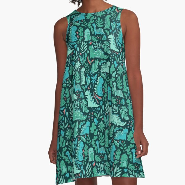 Cute dinosaurs and tropical leaves A-Line Dress