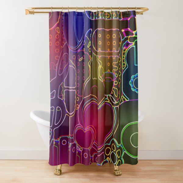 Music City Flowers and Hearts Shower Curtain