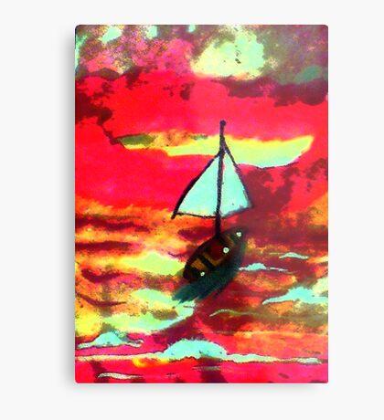 Sunset in a sail boat, watercolor Metal Print