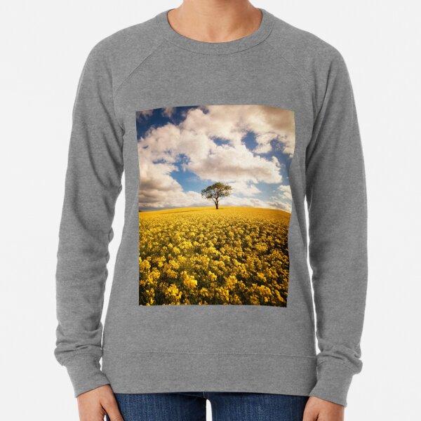 lone tree in a rapeseed field Lightweight Sweatshirt