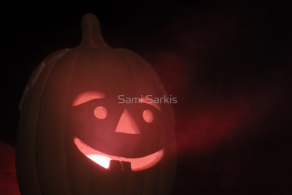 Illuminated Halloween pumpkin lantern made out of clay by Sami Sarkis