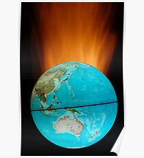 Globe with flames Poster