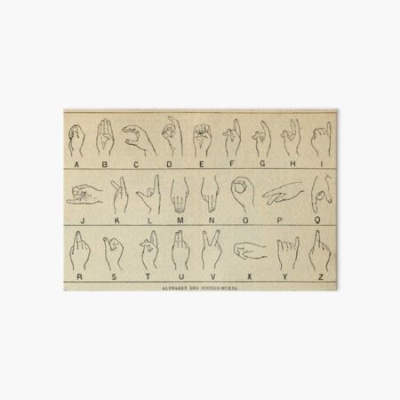 Finger Spelling Chart Art Board Print