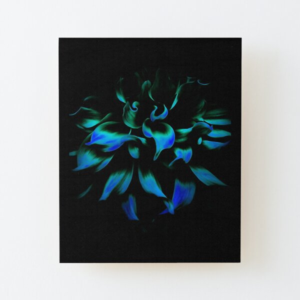 Fiery Blue Flower Wood Mounted Print