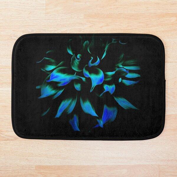 Fiery Blue Flower Bath Mat
