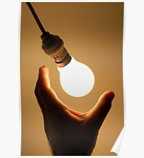 Man catching swinging light bulb Poster