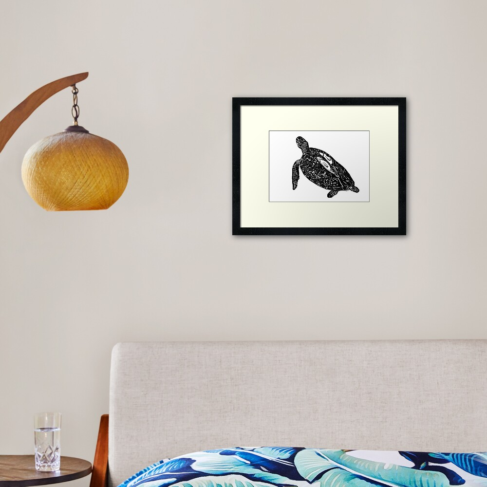 Lucy the Sea Turtle with Remora  Framed Art Print