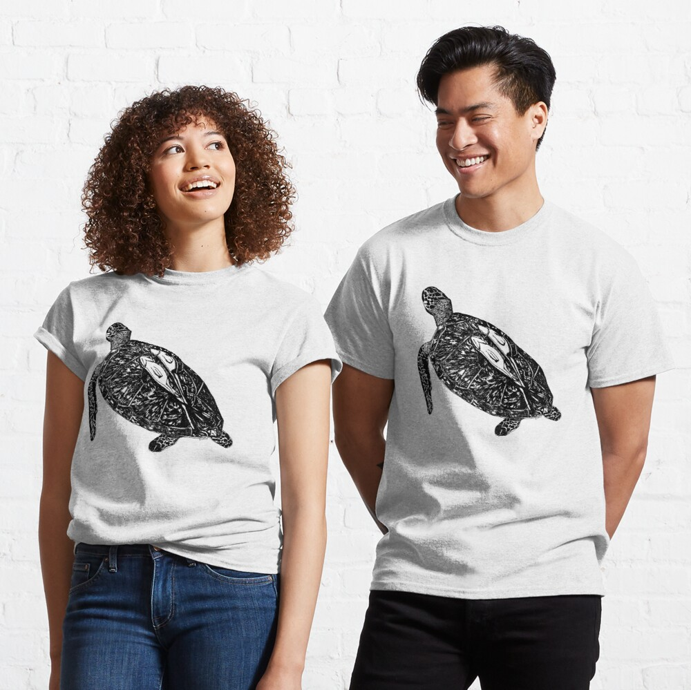 Lucy the Sea Turtle with Remora  Classic T-Shirt