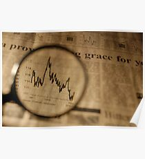 View of graph in newspaper trough magnifying glass Poster