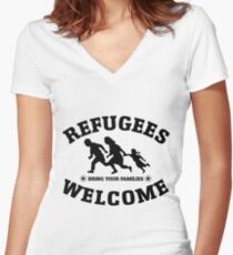Refugees Welcome Peace Love Flüchtling Women's Fitted V-Neck T-Shirt