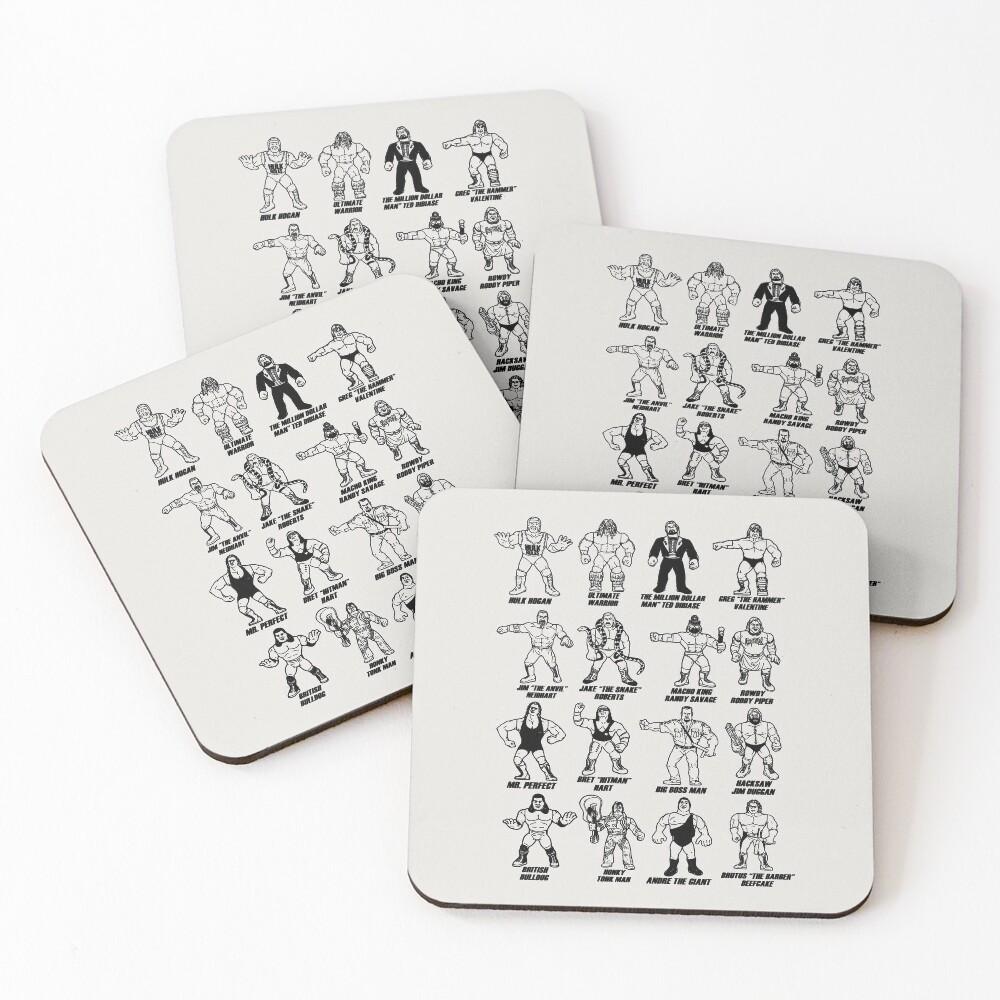 Retro Wrestling - Black Stencil Coasters (Set of 4)