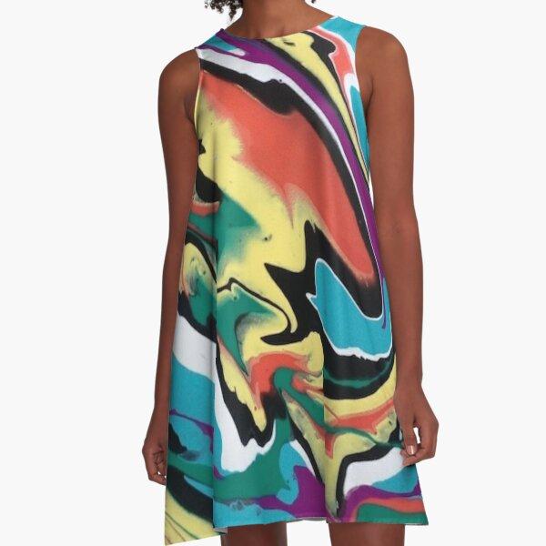 Colourful Swirl A-Line Dress