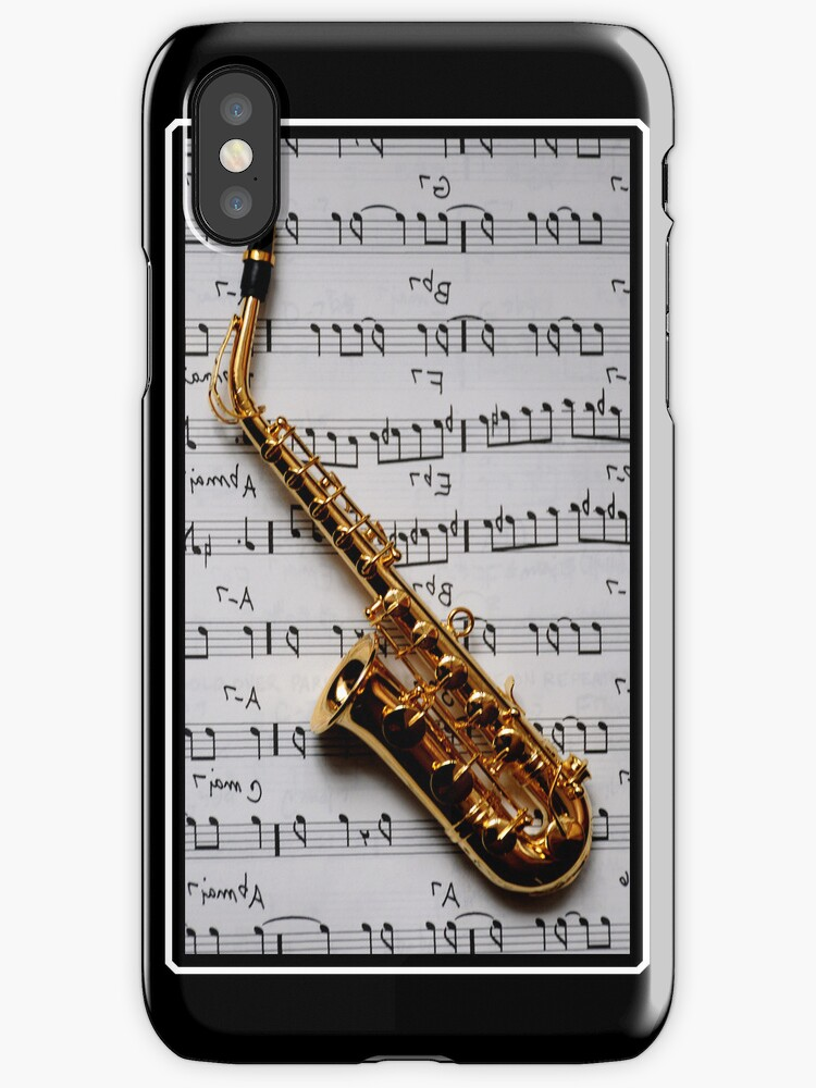 Just One Note Saxophone iPhone Case by MaluC
