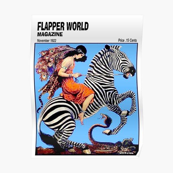 PEACOCK GIRL ON A ZEBRA : Vintage 1922 Flapper World Magazine Print Poster