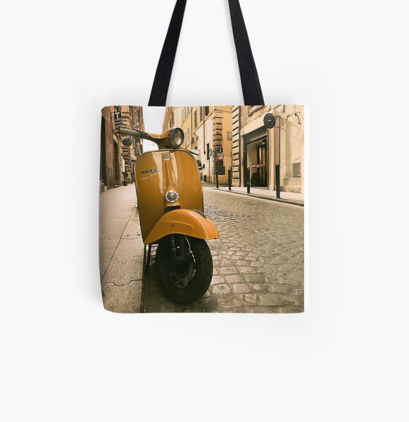Yellow vespa motorcycle on the street in Italy  All Over Print Tote Bag