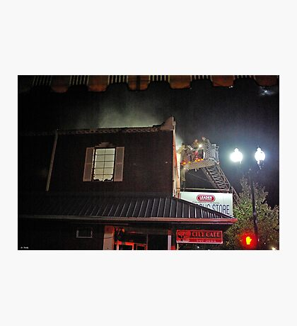 City Cafe Fire Night Shot #3 Photographic Print