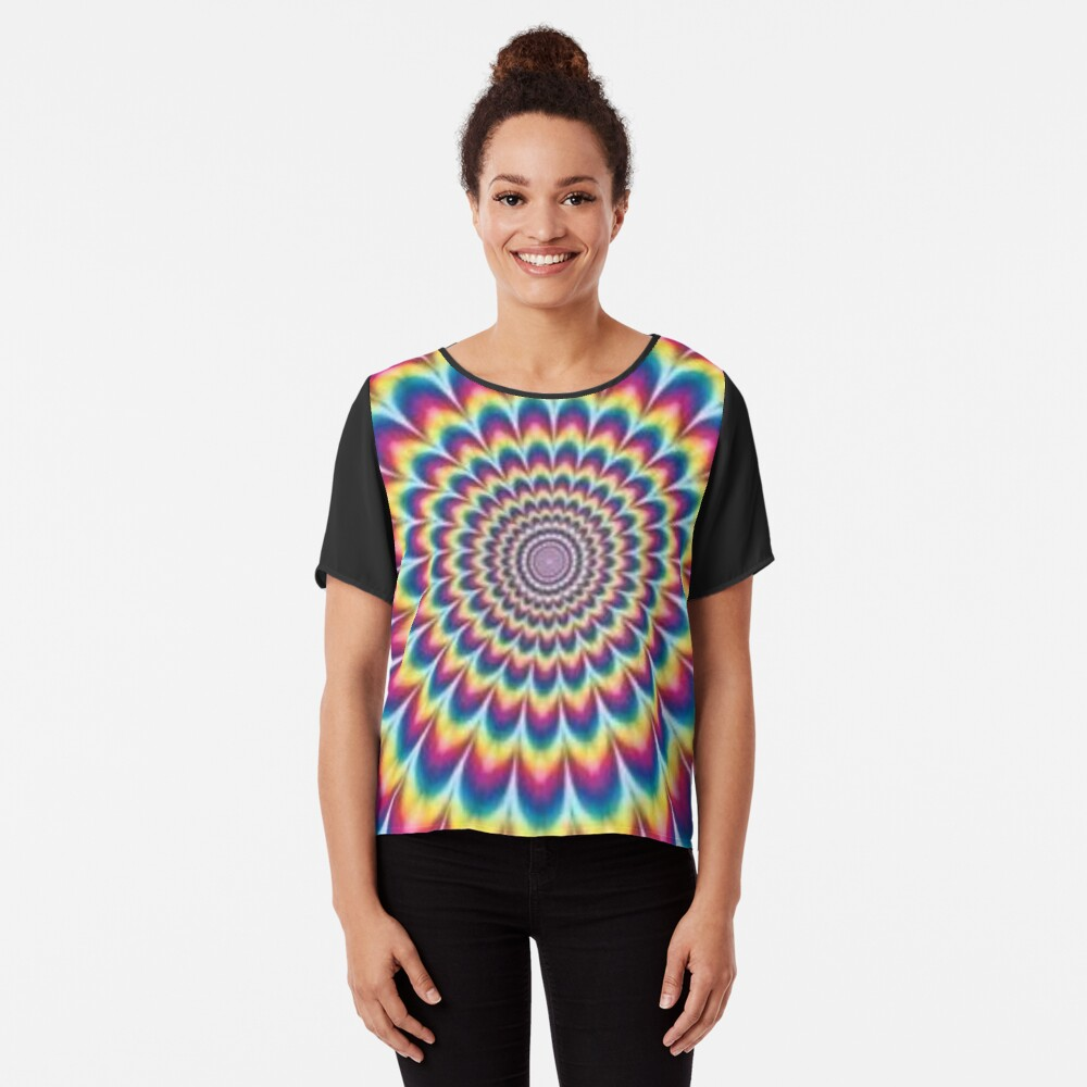 Psychedelic Art, ssrco,chiffon_top,womens,black,front,square_three_quarter,x1000-bg,f8f8f8