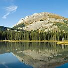 Mountain in fall clours reflects in a small lake. by Philippe Widling