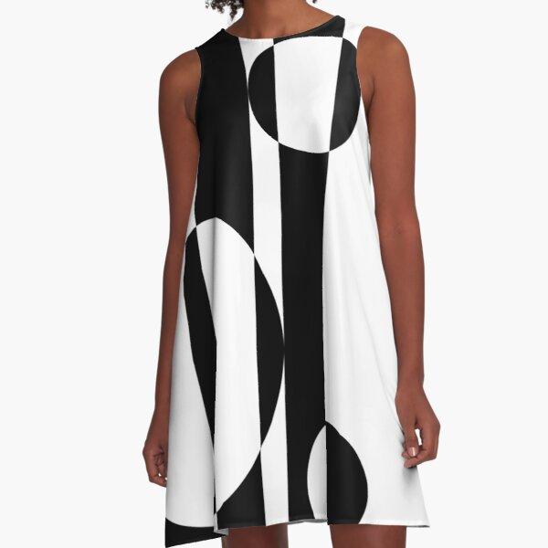 Retro Sixties Black and White Op Art A-Line Dress