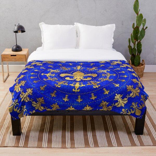 Fleur-de-lis ornament Lapis Lazuli and Gold Throw Blanket