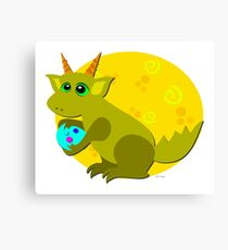 Baby Dragon Loves Eggs Canvas Print