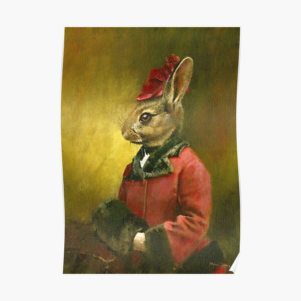 Victorian Lady Rabbit Poster