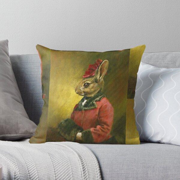 Victorian Lady Rabbit Throw Pillow