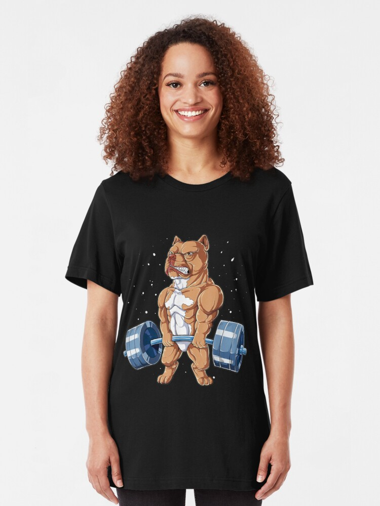 Pitbull Pit Bull Strong Dog Power Weightlifter Graphic Art White T Shirt