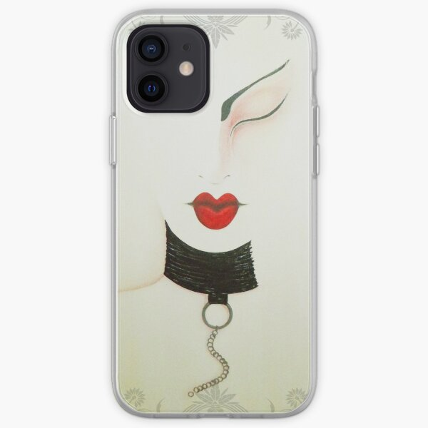 Femme Fatale Leather and Chains Sexy Girl Painting iPhone Soft Case