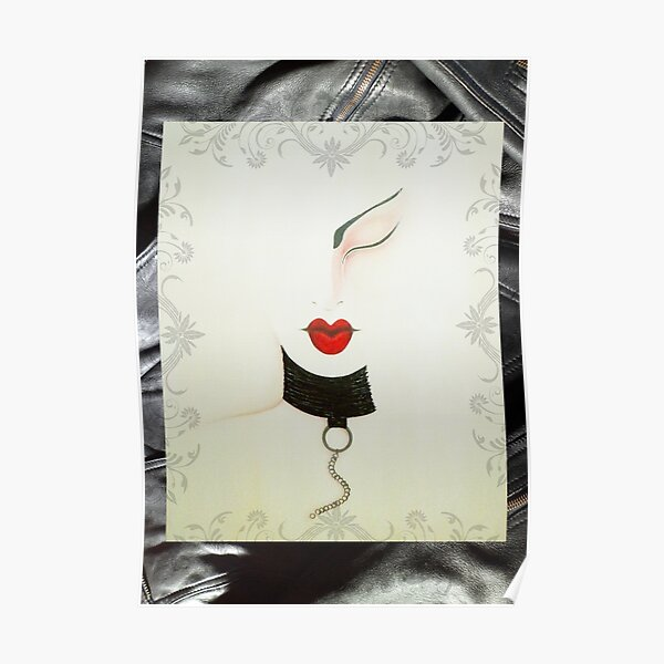 Femme Fatale Leather and Chains Sexy Girl Painting Poster