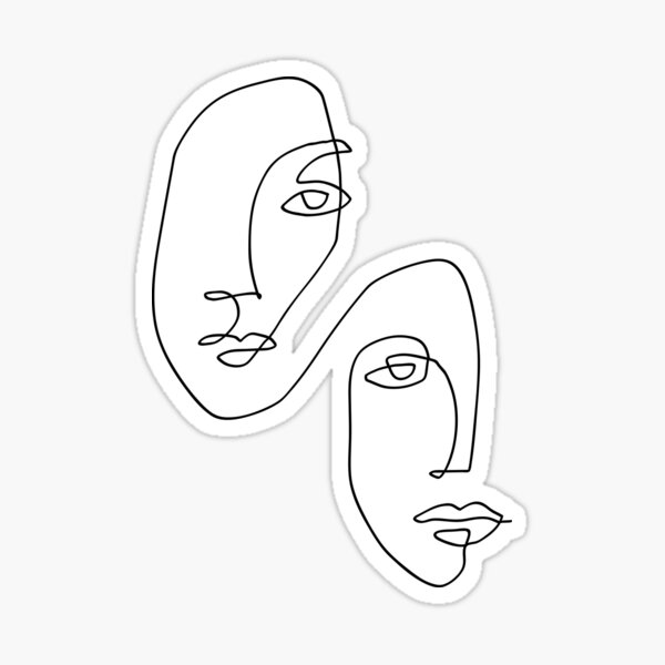 Faces - Line Art Sticker