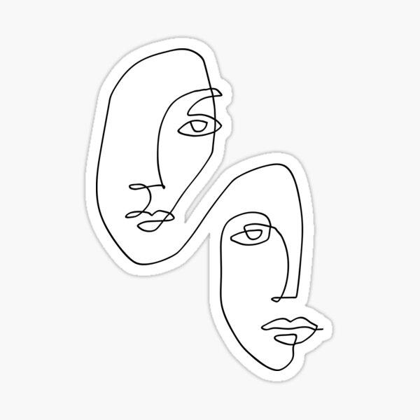 Visages - Dessin au trait Sticker