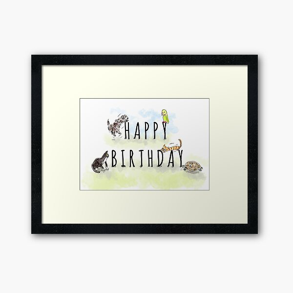 Cute Happy Birthday Animals and Pets Illustration Framed Art Print