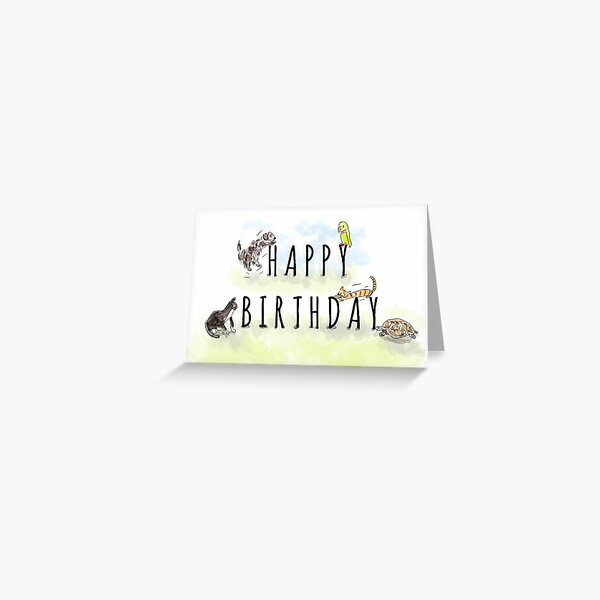 Cute Happy Birthday Animals and Pets Illustration Greeting Card