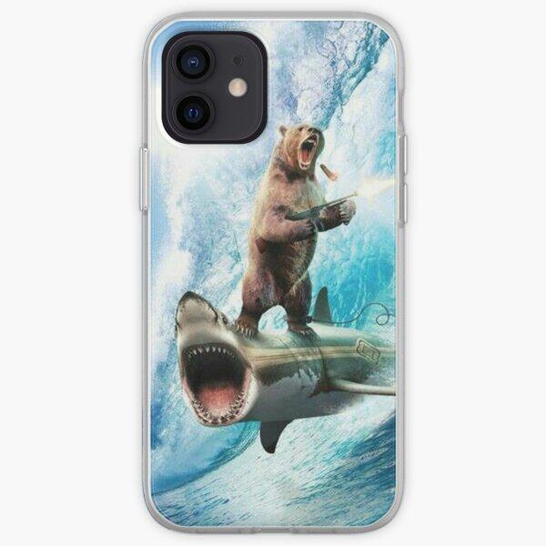 Bear Surfing On Shark iPhone Soft Case