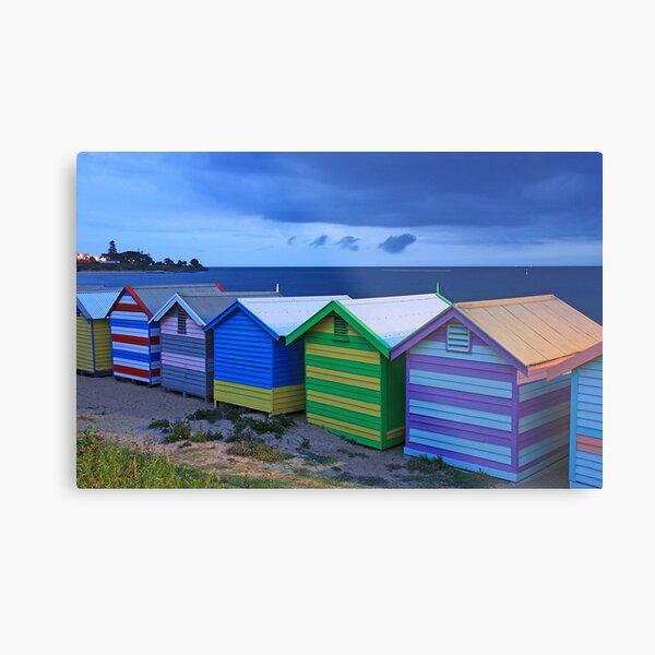 Brighton beach boxes at dusk Metal Print