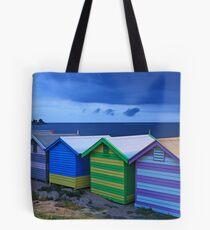 Brighton beach boxes at dusk Tote Bag