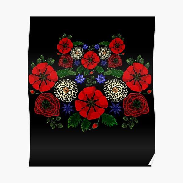 Floral Ukraine Retro Vintage Ukrainian Embroidery Vyshyvanka Style Poster