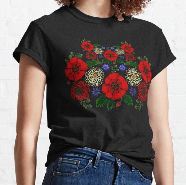 Floral Ukraine Retro Vintage Ukrainian Embroidery Vyshyvanka Style Classic T-Shirt