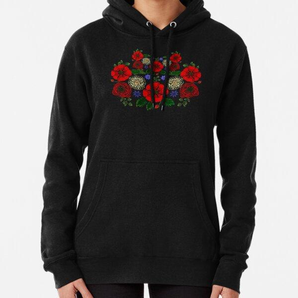 Floral Ukraine Retro Vintage Ukrainian Embroidery Vyshyvanka Style Pullover Hoodie