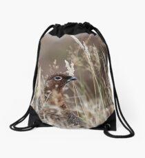 Grouse pose Drawstring Bag
