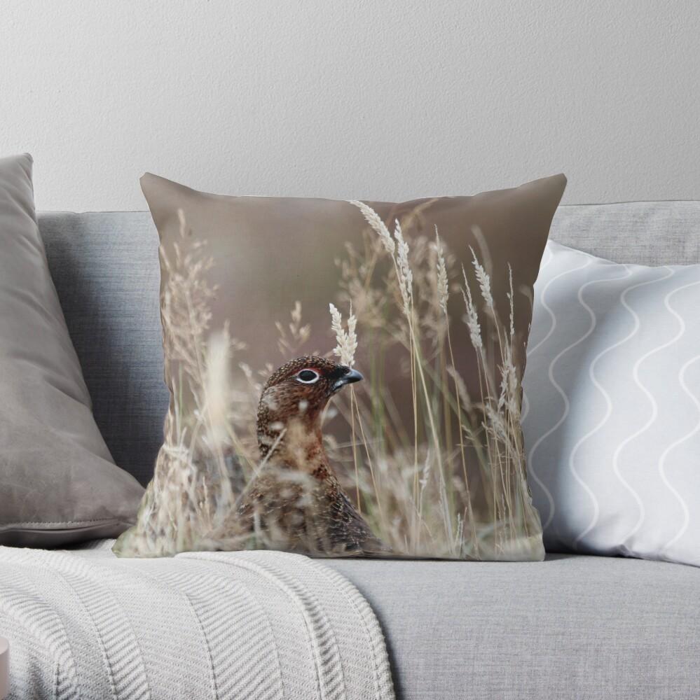 Grouse pose Throw Pillow