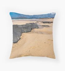 Landscape, Traigh Mhor beach, Finger of rock Throw Pillow