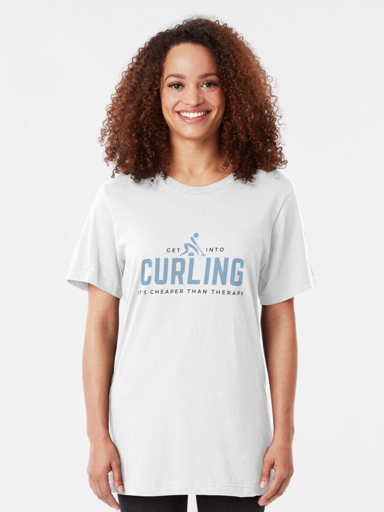 Alternate view of Get Into Curling. It's Cheaper Than Therapy. Funny sports meme. Perfect gift for curlers, teams, coaches, fans. Slim Fit T-Shirt