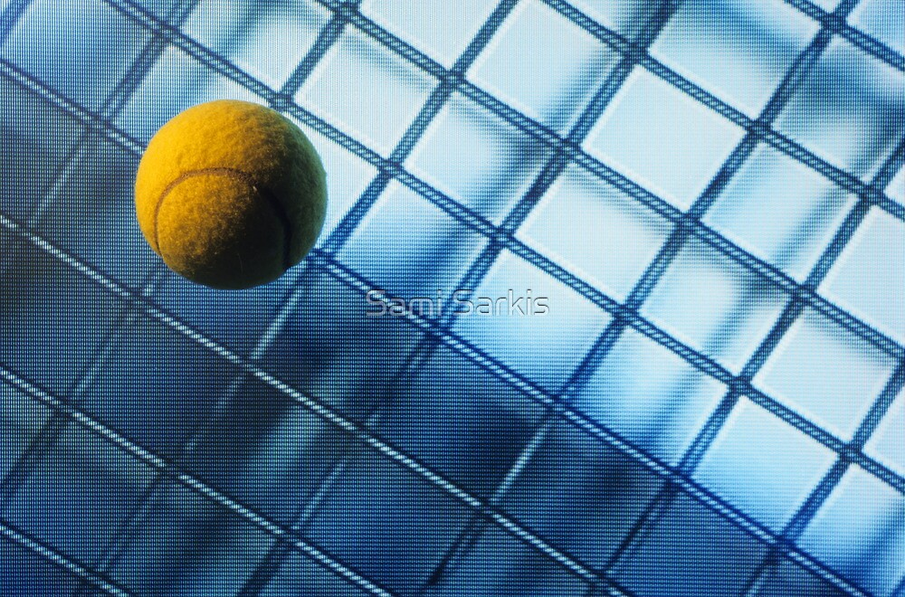 Tennis ball on TV screen displaying racket's wire mesh by Sami Sarkis
