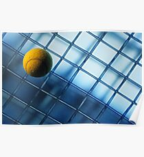 Tennis ball on TV screen displaying racket's wire mesh Poster
