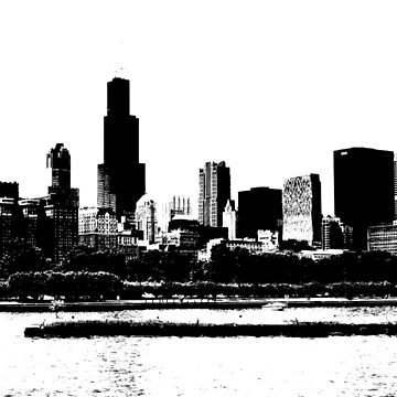 Chicago Skyline Black and White by CorrieJacobs