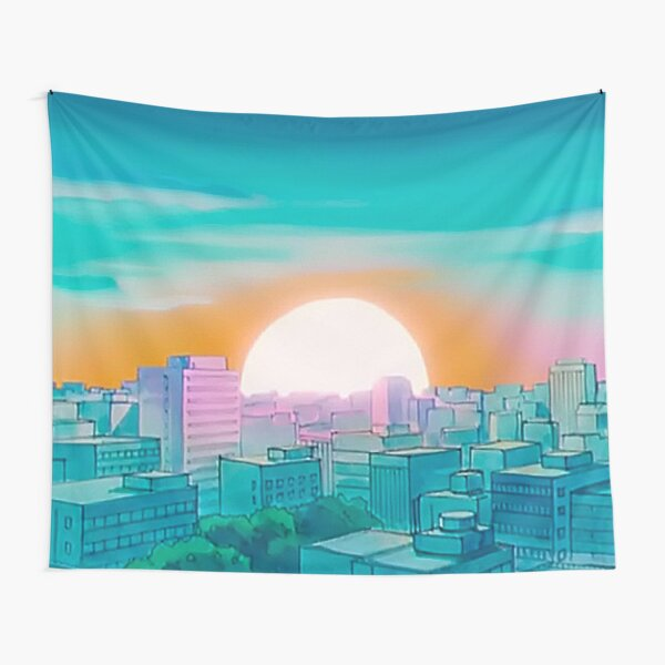 Pastel Anime City Sailor Tapestry