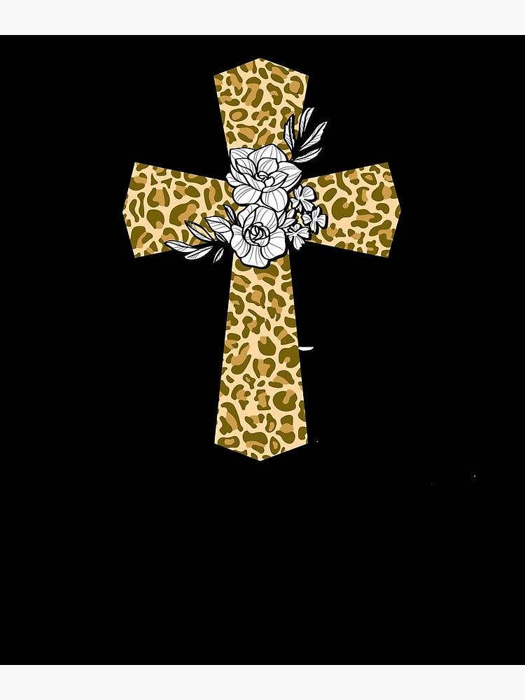 Leopard Print Floral Cross T shirt