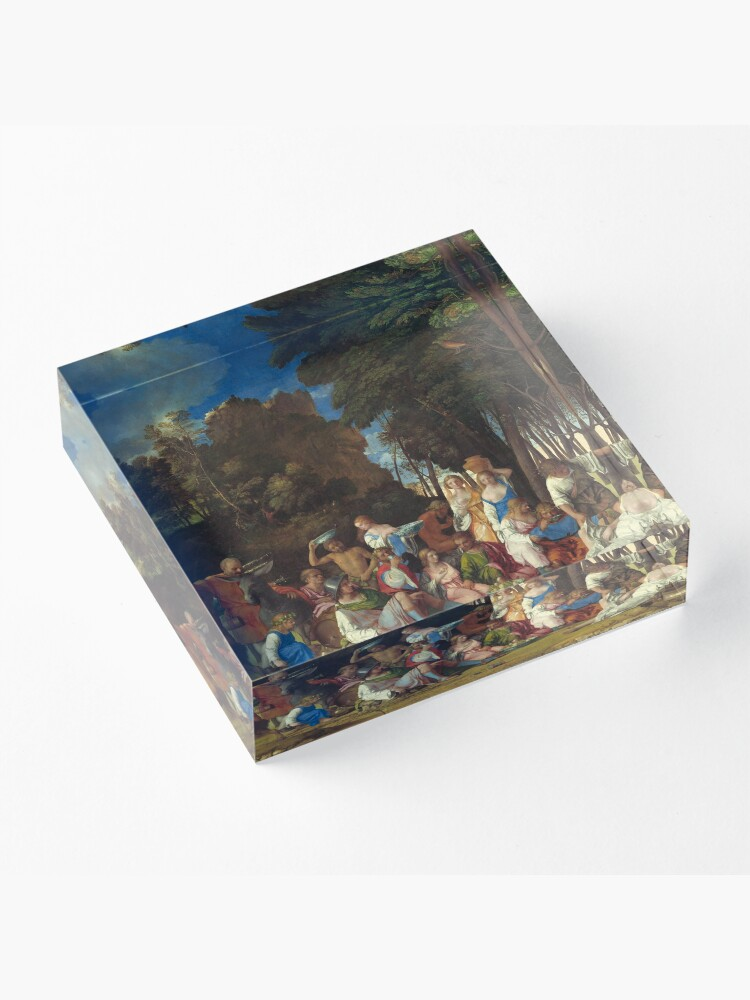 Alternate view of The Feast of the Gods Painting by Giovanni Bellini and Titian Acrylic Block